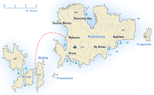 Mykonos Delos Map